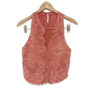 Free people tie dye lace embroidered button vest